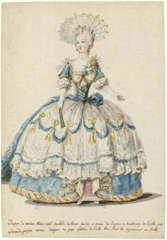 Charles-Germain de Saint-Aubin: soul in court dress rolled up on the right side, © Photo Les Arts Décoratifs, Paris All rights reserved 18th Century Dress, 18th Century Costume, 18th Century Clothing, 18th Century Fashion, Rococo Fashion, Victorian Fashion, Vintage Fashion, Medieval Fashion, French Fashion