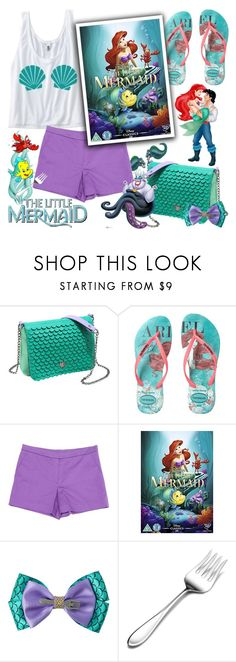 """""""The Little Mermaid"""" by chey-love ❤ liked on Polyvore featuring Disney, Havaianas, Sonia by Sonia Rykiel, Sebastian Professional and Mikasa"""