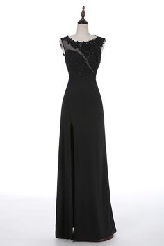 Black Long Chiffon A-Line Evening Dress Featuring Lace Appliquéd and Beaded Adorned Sleeveless Bateau Neckline Bodice and Illusion Open Back