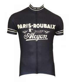paris roubaix retro cycling jersey for men blue