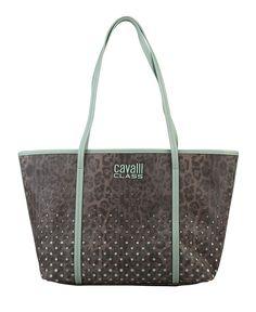 Cavalli class - small shopping bag realizzata in ecopelle con doppio manico, logo applicato. - interno foderato 100% co  - Shopping bag donna laraeasy Marrone