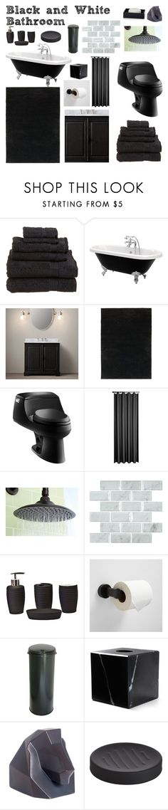 """""""Black and White Bathroom"""" by dreamingdaisy ❤ liked on Polyvore featuring interior, interiors, interior design, home, home decor, interior decorating, Restoration Hardware, Kohler, Kingston Brass and iTouchless"""
