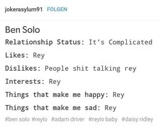 Here we've got Rey's status ---> #reylo