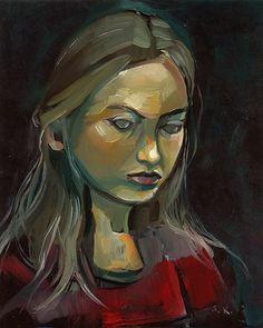 Girl Looking Down - Original Oil Painting on Wood Panel