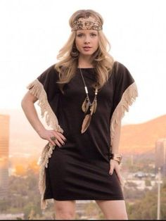 Black Fringed Tunic Dress – aliandcoboutique.com Reg. $99 Sale $49.50