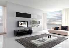 TV wall mount ideas with black and white interior