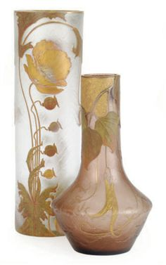 TWO FRENCH ETCHED AND ENAMELED GLASS VASES, SIGNED IN GILT FOR MONT JOYE, LATE 19TH/EARLY 20TH CENTURY