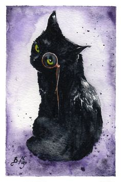 Dapper est que Dapper : tirage d'Art giclée aquarelle Black Cat