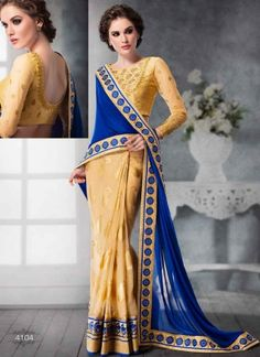Stunning Blue And Cream Patch Border Brasso Georgette Casual Sarees