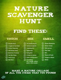 Hunt Ideas for Kids Print out the clues and let the nature scavenger hunt begin!Print out the clues and let the nature scavenger hunt begin! Outdoor Scavenger Hunts, Nature Scavenger Hunts, Scavenger Hunt For Kids, Nature Activities, Summer Activities, Outdoor Activities, Science Activities, Family Activities, Science Nature