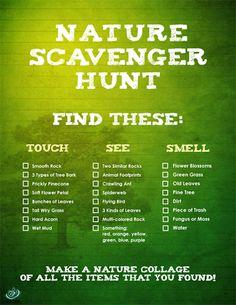 Nature Scavenger Hunt - just words, so for older kids