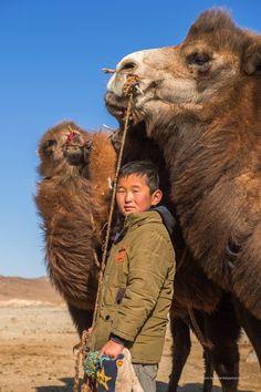 A boy and camels, Mongolia @Bayar Balgantseren