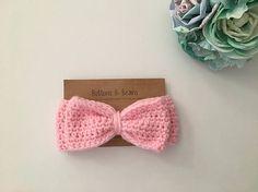 Ready to Ship-Baby Girl Bow Ear Warmer Bow Headband Crochet