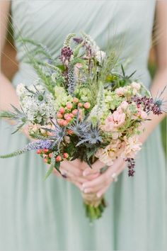 wildflower and thistle bouquet / http://www.himisspuff.com/boho-rustic-wildflower-wedding-ideas/8/