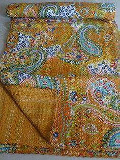 "Tribal Asian Textiles 90""x108"" Indian Ikat Kantha Quilts Handmade Queen Size Blanket 100% Cotton Fabric Decor Throw Bedspread Gudari 1017"