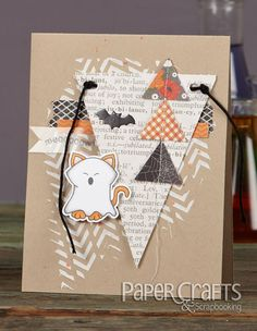 Ghost Kitty card by Tessa Wise from Paper Crafts & Scrapbooking October 2014 issue