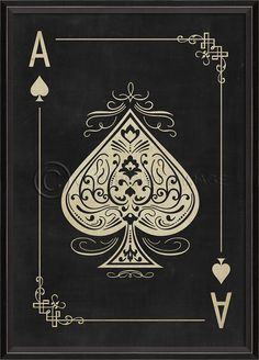 Ace of Spades White on Black - Playing Cards Spicher and Company - Distinguished…