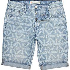 Blue navajo print denim shorts - shorts - sale - men