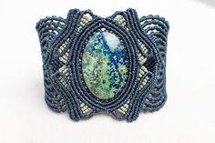 Macrame Amazonite Bracelet macrame cuff  gemstone by Amonithe, $65.00