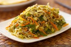 Bean sprouts are stir fried with bell peppers and carrots, seasoned with soy sauce, rice vinegar and a bit shaoxing wine. Serve it with steamed rice or wrap it into warm crepes or tortilla wraps.