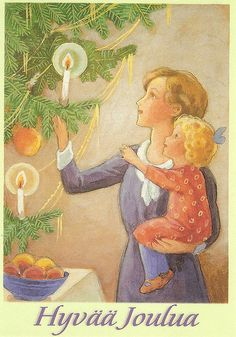 Vintage Finnish Christmas Art by Rudolf Koivu Vintage Christmas Images, Retro Christmas, Christmas Pictures, Christmas Art, Christmas Illustration, Children's Book Illustration, Illustrations, Nouvel An, Art For Art Sake