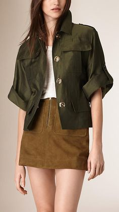 Shop our selection of women's jackets at Burberry, from the lambskin biker to quilted jackets. Trench Coats, Trench Coat Style, Military Chic, Military Fashion, Safari Outfits, Black White Striped Dress, Jacket Images, Blazers, Fashion Sewing