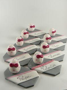 Portes noms oeufs pour une décoration de table d'un baptême ( ou de Pâques)