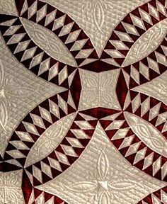 """A red and white """"Pickle Dish"""" quilt for Mom."""