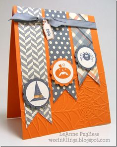 Use your Spooky Bingo Bits stamp set - or whatever you have with tiny, cute Halloween images - for this handmade card.  Coordinating paper decorates the banners behind, and spider web embossing is peeking in the corner.
