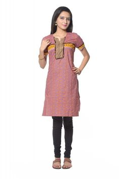 VASTRA VINOD PURPLE COTTON KURTI WITH LEGGING