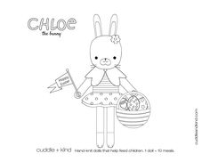 cuddle+kind chloe the bunny colouring sheet www.cuddleandkind.com Easter Coloring Sheets, Easter Colouring, Coloring Pages For Kids, Coloring Books, Colouring Sheets, Cute Crafts, Crafts To Do, Kids Crafts, Kid Printables