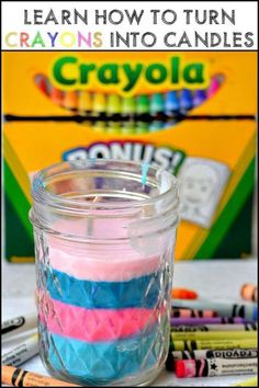 How to Make Candles Out of Your Kid's Broken Crayons - Candle Making Diy Candles Scented, Homemade Candles, Soy Candles, Soy Candle Making, Making Candles, Diy Candles With Crayons, Crayon Crafts, Crayon Art, Kid Crafts