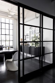55 ideas glass office door san francisco for 2019 Modern Office Design, Office Interior Design, Office Interiors, Modern Interior, Glass Office Doors, Office With Glass Walls, Glass Office Partitions, Black Window Trims, Office Walls