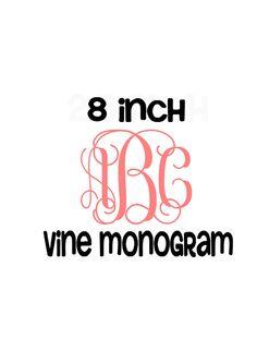 8 inch Vine Monogram Decal   Custom by MeowMeowHouseDesigns