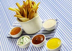 yummy fries with sauces