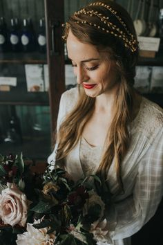 Bridal Photos, Gypsy Floral and Events, Hillside Farmacy Shoot with Amber Vickery, Cafe Au Lait Dahlia Wedding Makeup Looks, Bridal Hair And Makeup, Looks Dark, Bridal Updo, Bridal Hairpiece, Wedding Hair Inspiration, Vintage Bridal, Bandeau, Hair Pieces