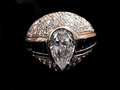 DIAMOND SAPPHIRE RING by HPSJEWELERS on Etsy