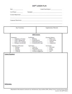 Siop Lesson Plan Template 3 Beautiful Here S A Helpful Siop Lesson Plan Template Action Plan Template, Lesson Plan Templates, Program Template, Lesson Plan Examples, Esl Lesson Plans, Simple Business Plan Template, Progress Report Template, Creating A Business Plan, Esl Lessons