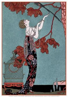 Art Deco: The Red Lady by Georges Barbier. Love this painting, very refined and colorful. Source: Fine Art Archives/Georges Barbier/The. Art Deco Illustration, Vintage Illustrations, Illustrations Posters, Illustration Fashion, Fashion Illustrations, Arte Fashion, Art Deco Fashion, 1914 Fashion, Vintage Fashion