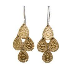 Anna Beck: Earrings: Wire Rimmed Chandelier Earrings - Gold