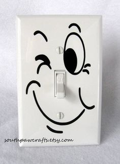 Funny Face Light Switch Plate Cover... diy use a sharpie