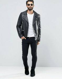 210d4ff5 Leather Jeans, Leather Jacket Outfits, Leather Jackets, White Tee Shirts,  Asos,