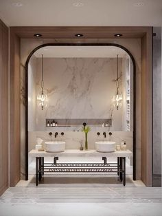 15 Inspiring Marble Bathroom Sink Designs For Your Luxury Home - Home Design - lmolnar - Best Design and Decoration You Need Bathroom Vanity Designs, Bathroom Sink Vanity, Bathroom Interior Design, Washroom, Bathroom Ideas, Arch Interior, Bathroom Cabinets, Bathroom Organization, Double Sink Bathroom