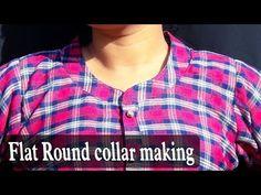 Flat Round collar making in Kurti Churidhar Neck Designs, Neck Designs For Suits, Dress Neck Designs, Kurti Neck Designs, Collar Designs, Blouse Designs, Kurti Patterns, Baby Dress Patterns, Sewing Patterns