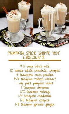 Pumpkin Spice White Hot Chocolate. Holy Festive Deliciousness!