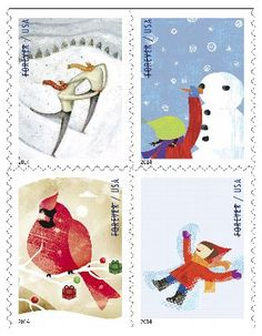 The Winter Fun stamps are being issued as Forever
