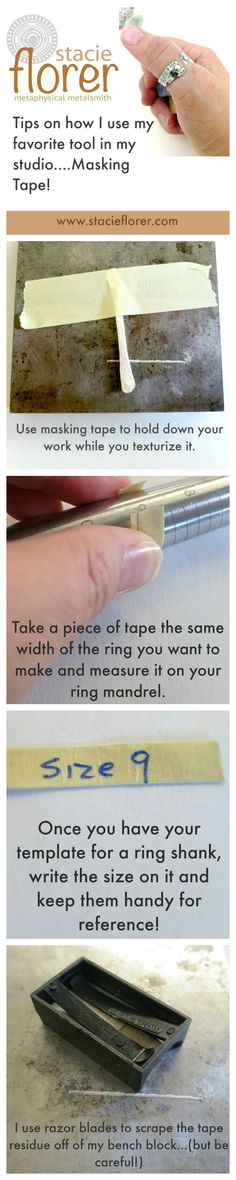 How I use masking tape to make ring shanks! - Uso dello scotch di carta sugli strumenti per realizzare un anello