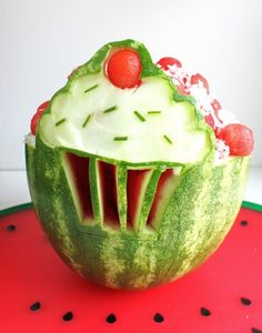 watermelon serving bowl at cupcake party @createdbydiane