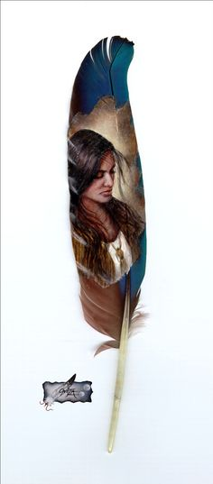 native painted feathers | Maiden Native American Indian feather painting print by by 2ndMoon
