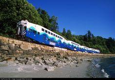 A Sounder commuter train cruises through Richmond Beach at Shoreline, Washington, on June 30, 2006.